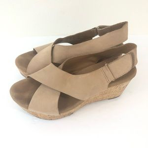 Clarks Artisan Womens 7 Boho Leather Cork Wedges